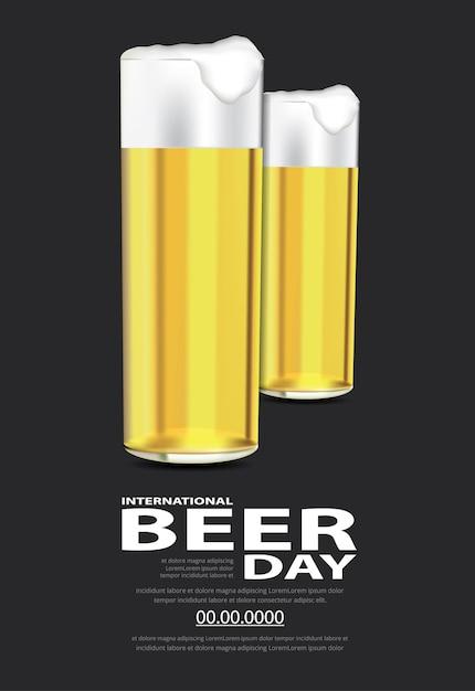 포스터 국제 맥주의 날 템플릿 디자인 일러스트 레이션 무료 벡터