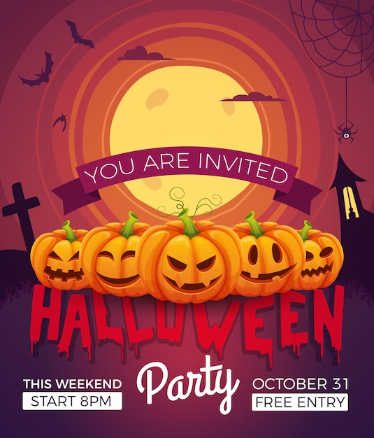 Poster invitation for halloween party. vector illustrations of halloween symbols. pumpkins with different emotions Premium Vector