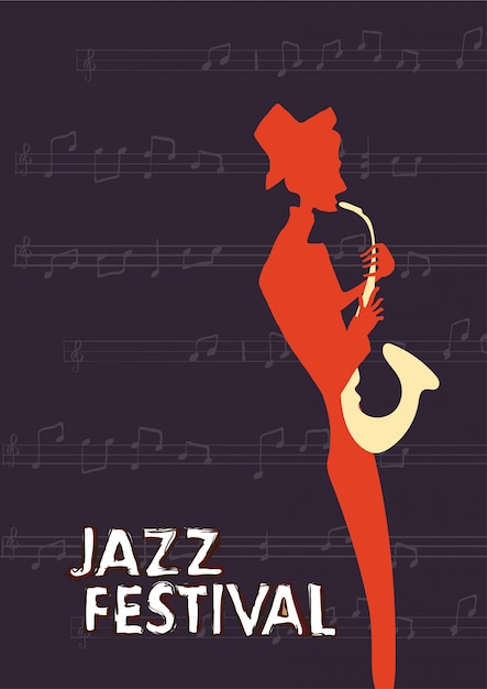Poster for jazz music festival or concert. the musician plays the saxophone on dark background. Premium Vector