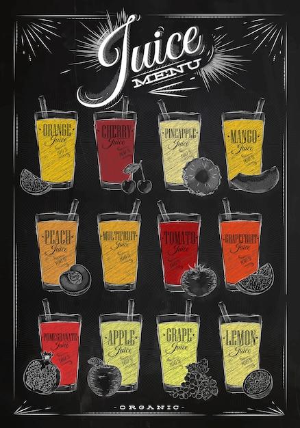 Poster juice menu chalk Premium Vector