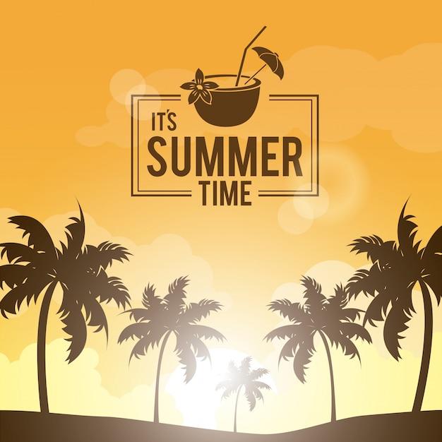 Плакат пейзаж пальм на пляже Premium векторы