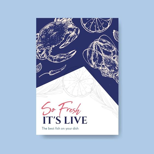 Modello di menu poster con concept design di frutti di mare per pubblicità e illustrazione di marketing Vettore gratuito