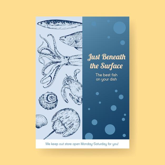 Шаблон меню плаката с концептуальным дизайном морепродуктов для рекламы и маркетинговой иллюстрации Бесплатные векторы