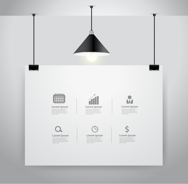 Poster mock up on wall and lamp Premium Vector