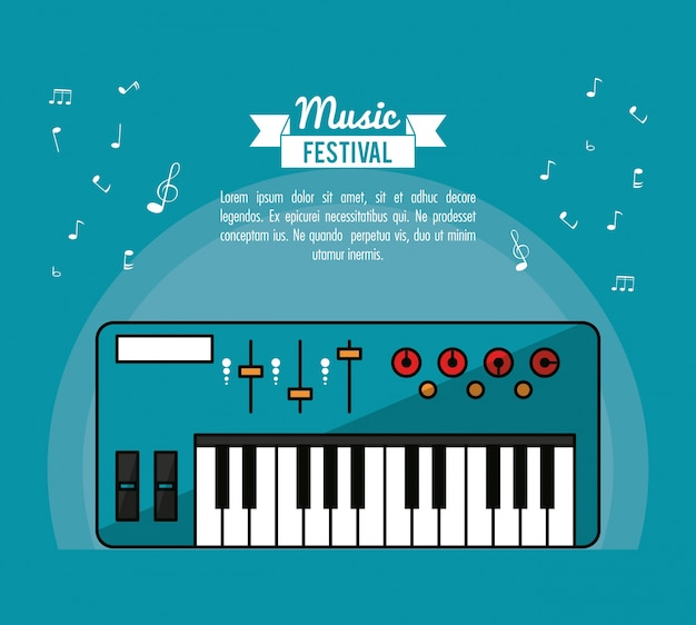 Poster music festival in blue background with electronic piano Premium Vector