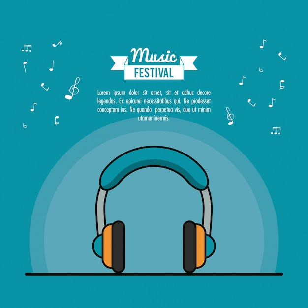 Poster music festival in blue background with stereo headphones Premium Vector