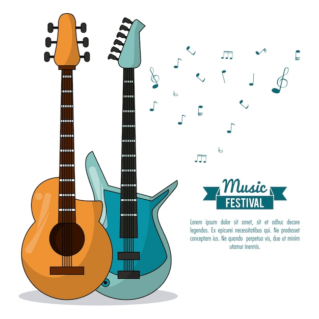 Poster music festival with acoustic guitar and electric guitar Premium Vector