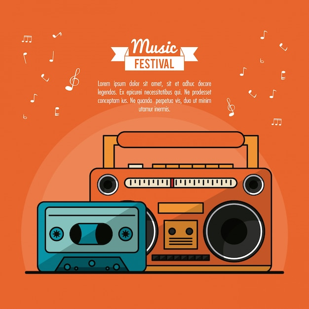 Poster music festival with cassete tape player and cassette tape Premium Vector