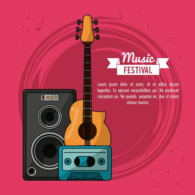 Poster music festival with guitar and speaker box and tape cassette Premium Vector
