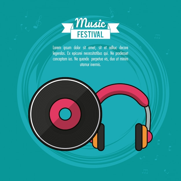 Poster music festival with vinyl lp record and headphones Premium Vector