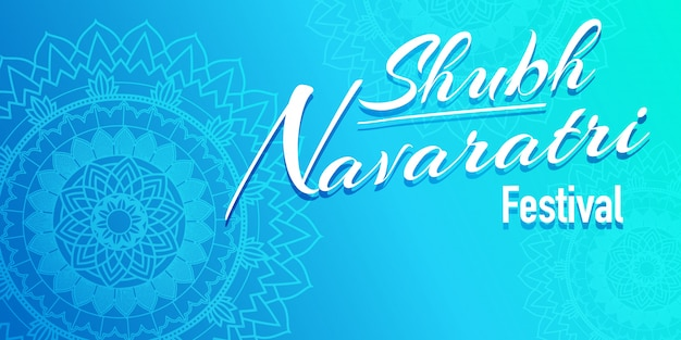 Poster for navaratri with mandala pattern in blue Free Vector