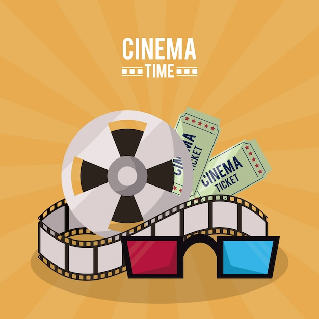 Poster of cinema time with film reel and tickets and 3D glasses ...
