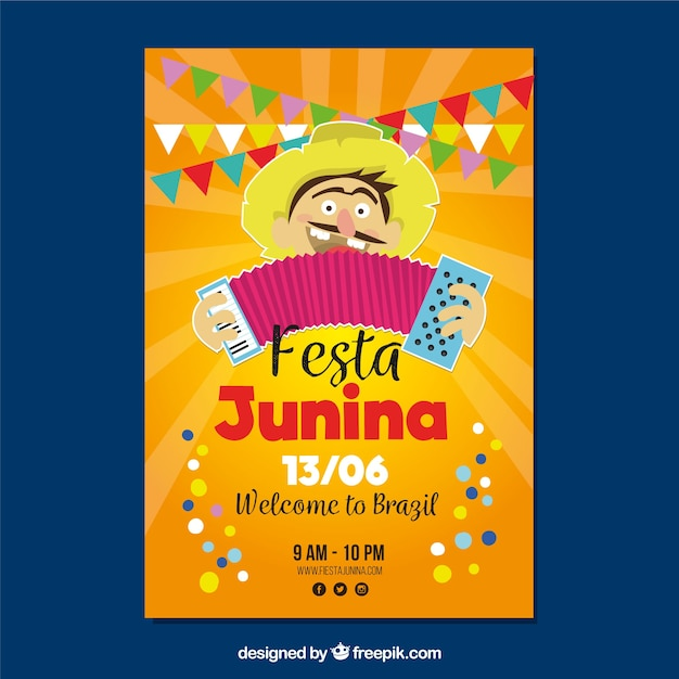 Poster of festa junina with man playing Free Vector