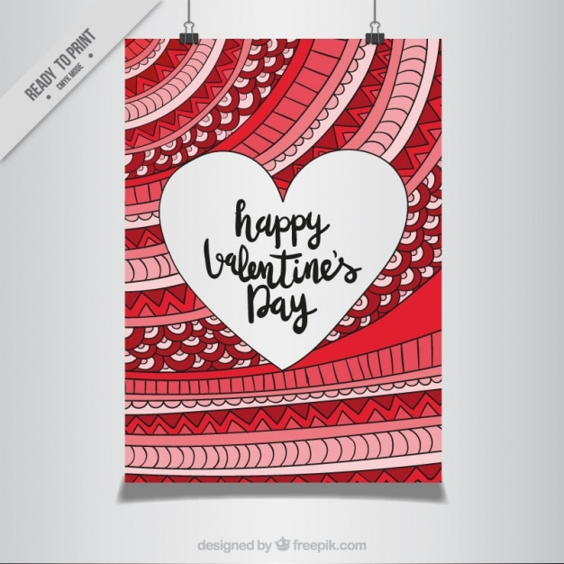 Poster of happy valentine with hand drawn abstract design Free Vector