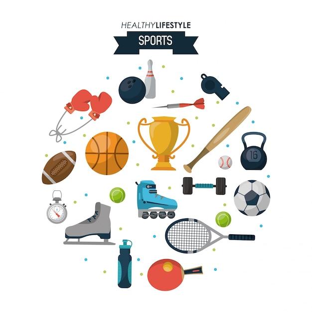 健康的なライフスタイルスポーツのスポーツ要素のポスター Premiumベクター