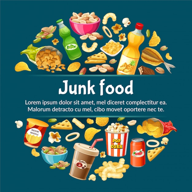 Плакат нездоровой пищи. Premium векторы
