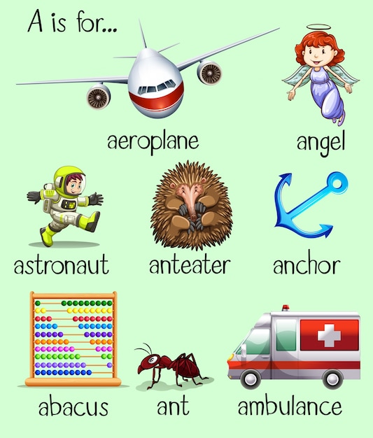 Poster Of Many Words Begins With Letter A Vector Free Download