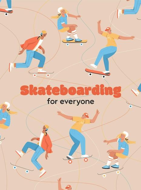 みんなのコンセプトのためのスケートボードのポスター Premiumベクター