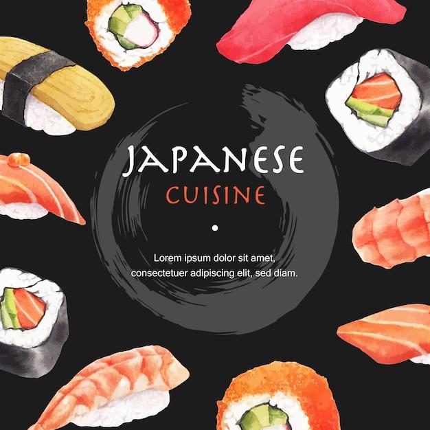 寿司レストランイラストのポスター。日本風のモダンなスタイル 無料ベクター