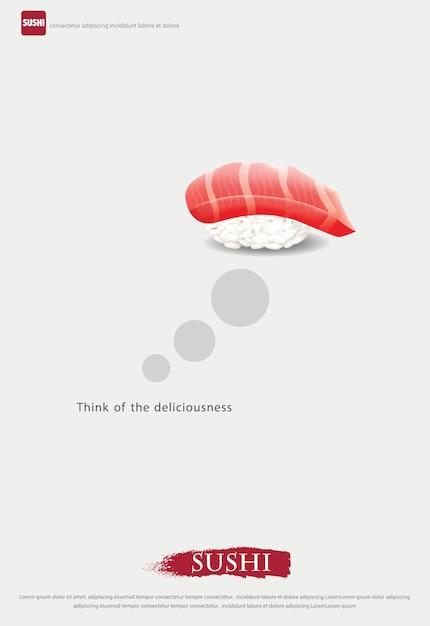 寿司屋イラストのポスター 無料ベクター