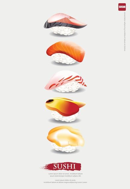 寿司レストランのイラストのイラスト Premiumベクター