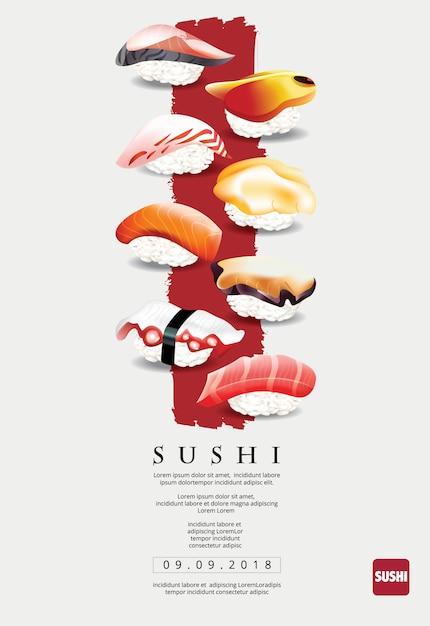 寿司レストランのポスターベクトルイラスト Premiumベクター