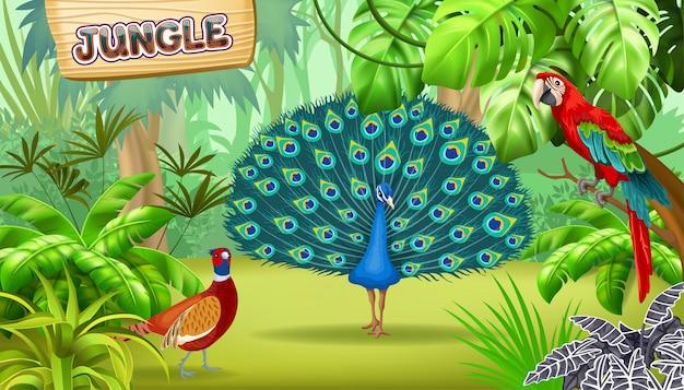 Плакат из тропических джунглей и птиц. Бесплатные векторы
