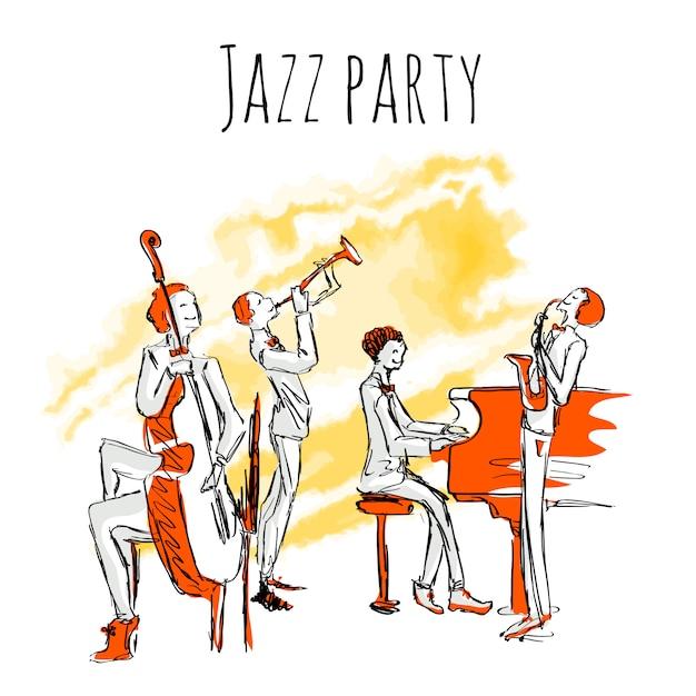 Плакат или обложка альбома для джаз-бэнда. концерт джазовой музыки. квартет играет jazz.illustration в стиле эскиз, изолированных на белом. Premium векторы
