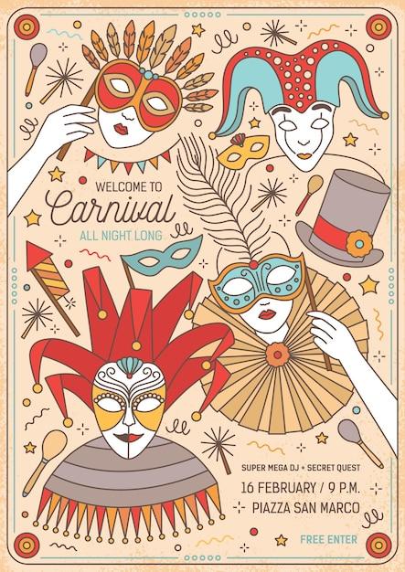 Плакат или шаблон приглашения на бал-маскарад с героями мультфильмов в ярких масках и костюмах Premium векторы
