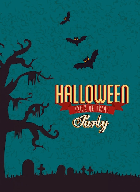 Poster of party halloween with bats flying Free Vector