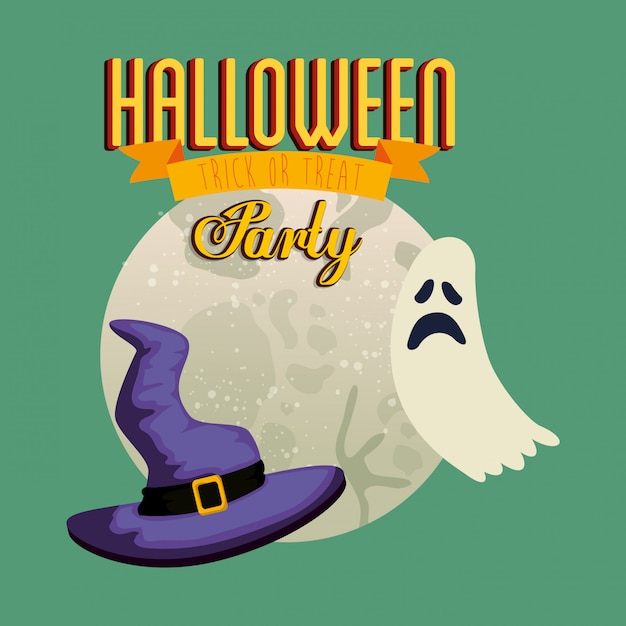 Poster of party halloween with ghost and hat witch Free Vector
