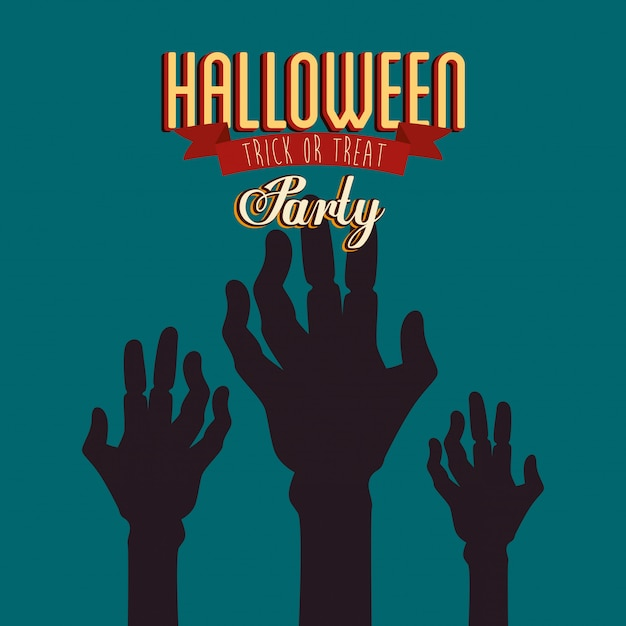Poster of party halloween with hands zombie Free Vector
