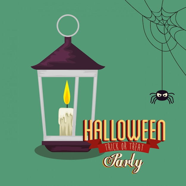 Poster of party halloween with lantern and spider Free Vector