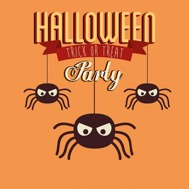 Poster of party halloween with spiders insects Free Vector