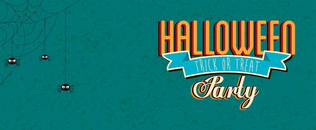 Poster of party halloween with spiders Free Vector