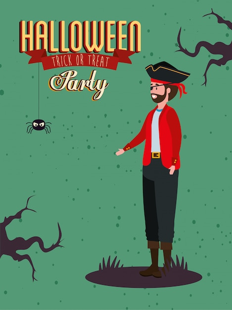 Poster of party with man disguised vampire Free Vector