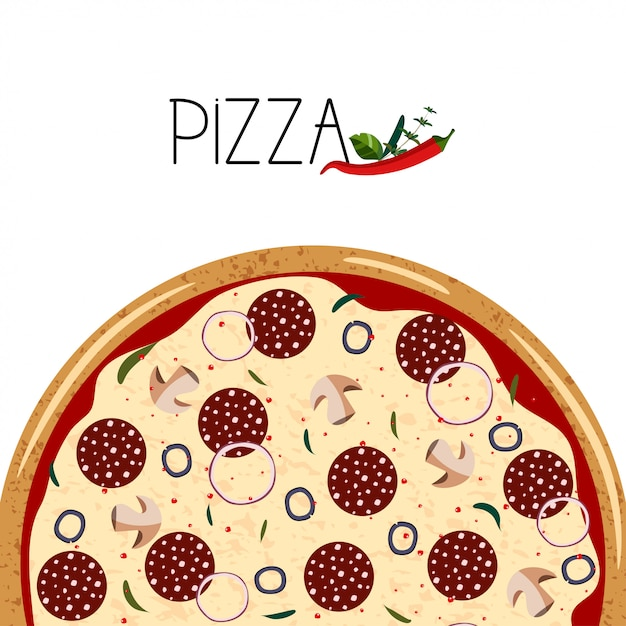 Poster for pizza box. Premium Vector