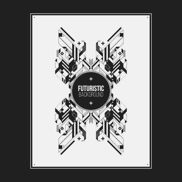 Плакат / шаблон дизайна печати с симметричным абстрактным элементом на белом фоне. полезно для обложек книг и журналов. Premium векторы
