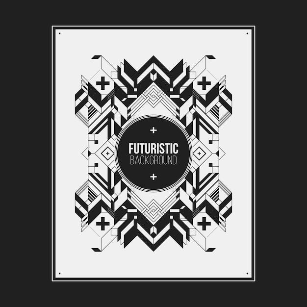 Плакат / дизайн шаблона печати с симметричным абстрактным элементом на белом фоне Premium векторы