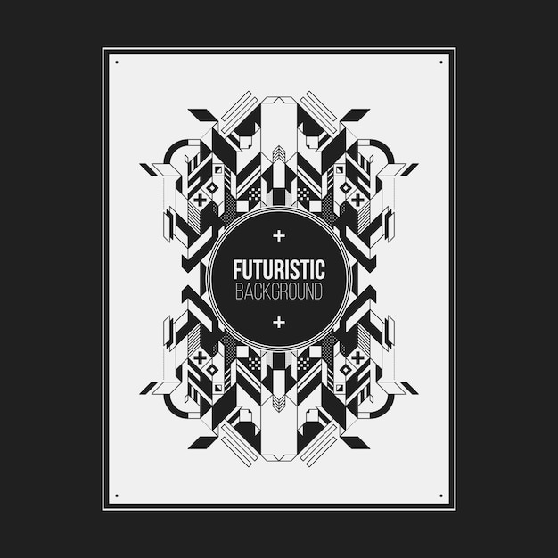 Poster/print design template with symmetric abstract element on