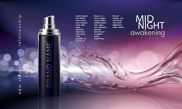 Poster for the promotion of cosmetic moisturizing and nourishing premium product Free Vector