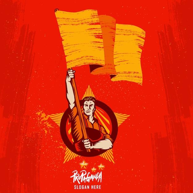 ポスター革命旗を掲げる Premiumベクター
