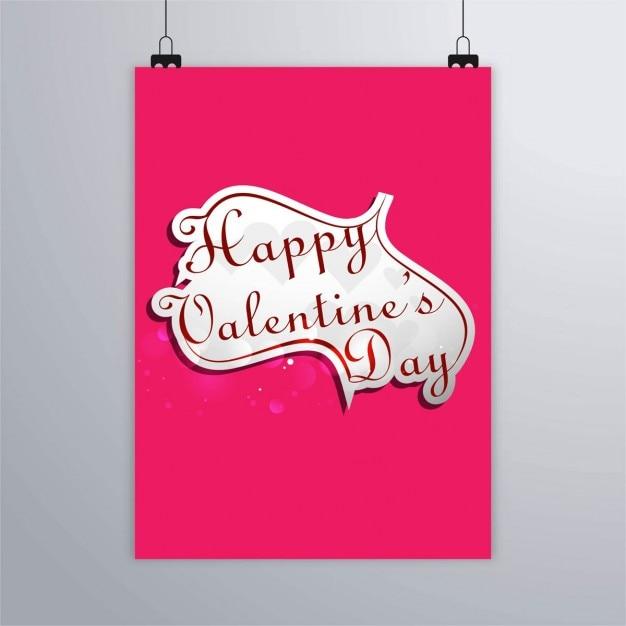 Póster rosa con un corazón, feliz san valentín Free Vector