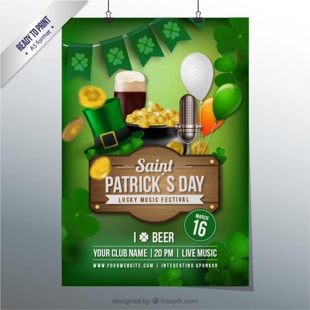 Poster for saint patrick Free Vector