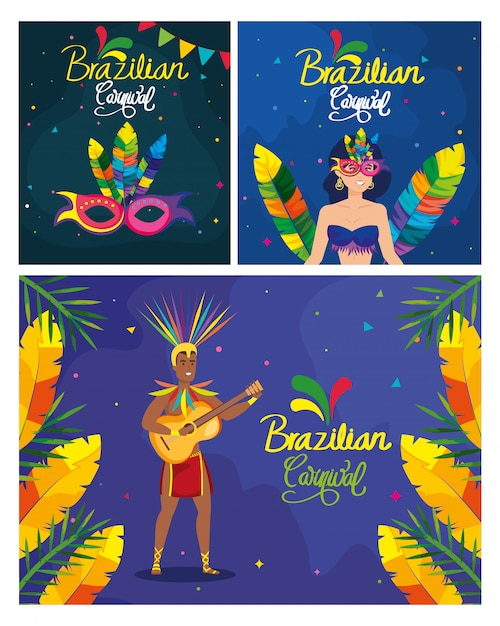 Poster set of brazil carnival with decoration Premium Vector