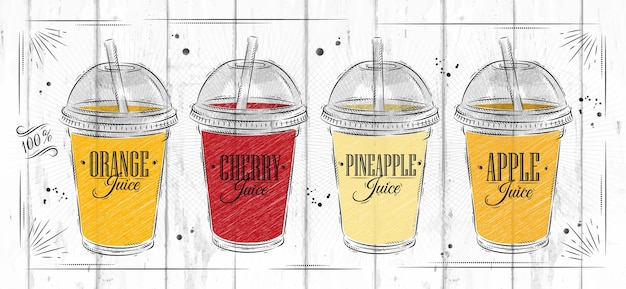 Poster set cups with different juices Premium Vector