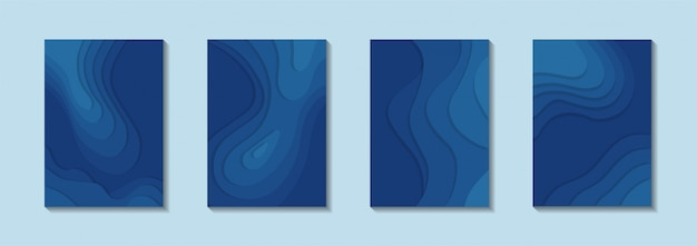 Poster set with paper cut style with classic blue color Premium Vector