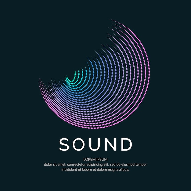 Poster of the sound wave. vector illustration music on dark background. Premium Vector