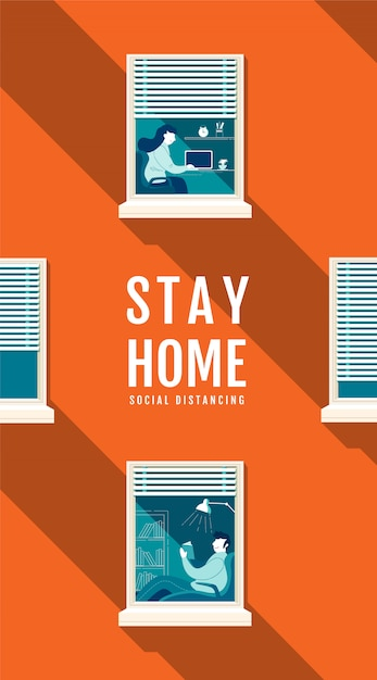 Poster stay home social distancing concept, protection covid-19 virus, people stay home,  illustration Premium Vector