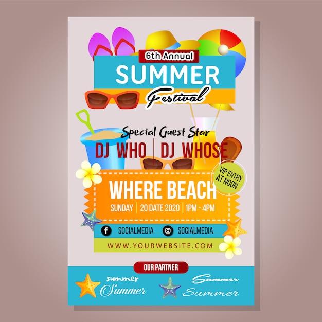 Poster summer festival template with beach stuff Premium Vector